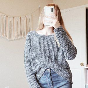 UO BDG Blue Dani Knit Cropped Pullover Sweater M